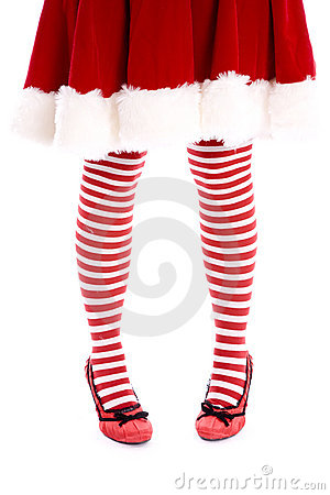 Santa helper legs toes together