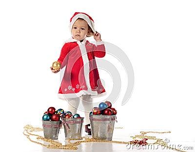 Santa helper little girl