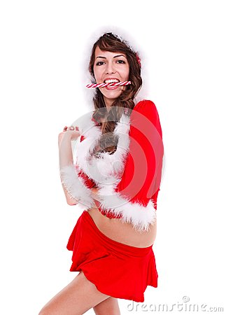Santa helper with lollypop in mouth