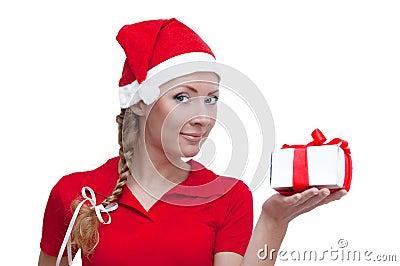 Santa helper looking into present box