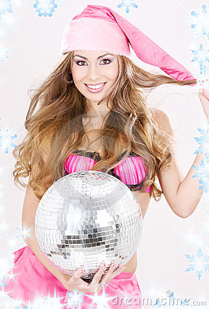 Santa helper in pink lingerie with disco ball