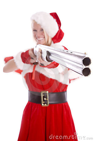 Santa helper pointing gun and smiling
