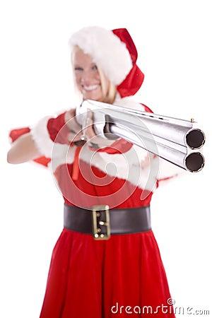 Santa helper pointing gun and smiling