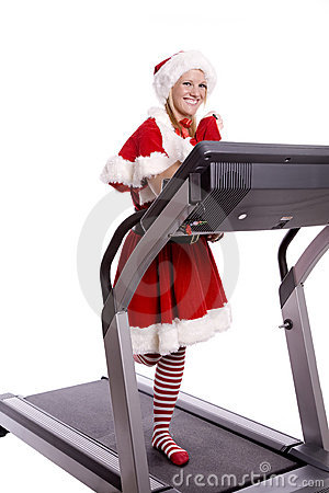 Santa helper on treadmill