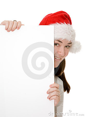 Santa hiding behind a card