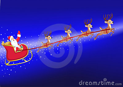 Santa in his deer sled