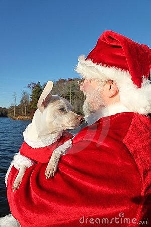 Santa and His Dog on the Dock 2