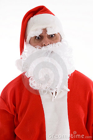 Santa with his eyes popped out