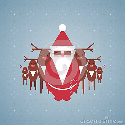 Santa and his Reindeer Gang Illustration