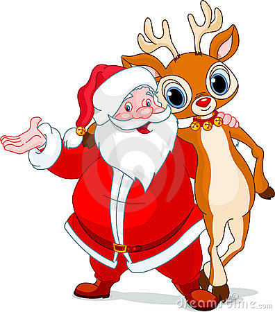 Santa and his reindeer Rudolf