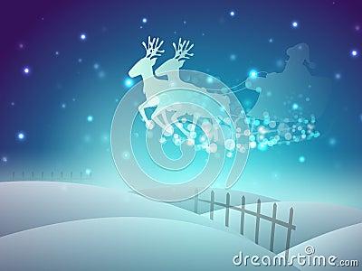 Santa on his sleigh, Christmas background.