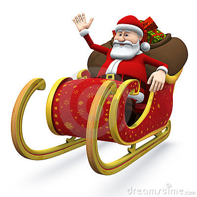 Santa in his sleigh - with clipping path
