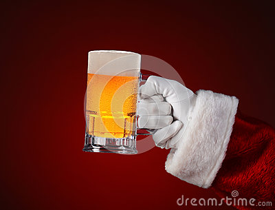 Santa Holding a Mug of Beer