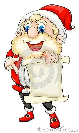Santa holding a paper scroll