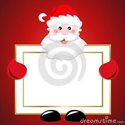 Santa Claus holding blank banner christmas sign