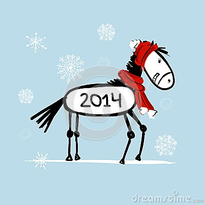 Santa horse sketch for your design. Symbol of 2014