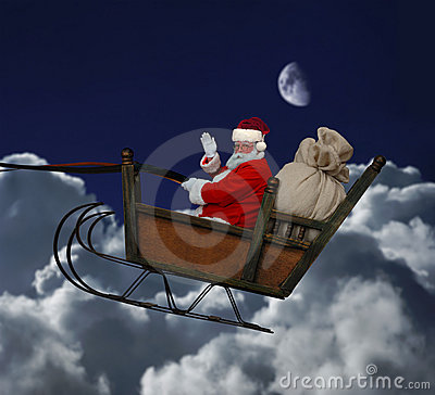 Free Santa In Flight Stock Photos - 7591753