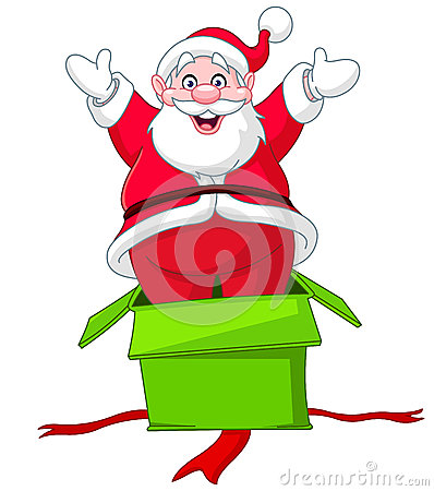 Santa jumps from gift box