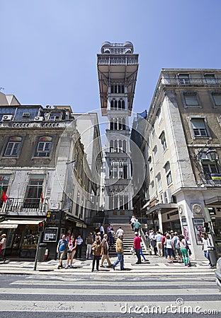The Santa Justa Lift in Lisbon Editorial Photo
