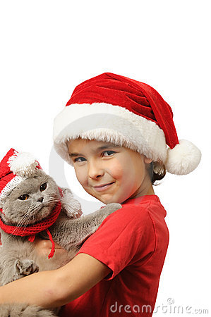 Santa kid with Santa cat