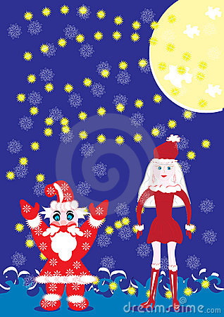 Santa-klaus and the snow girl