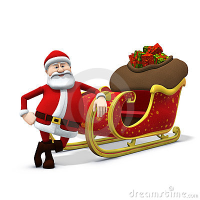 Santa leaning against his sleigh