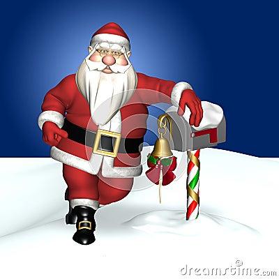 Santa Leaning and a Mailbox