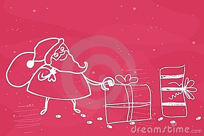 Santa leaving presents in vector