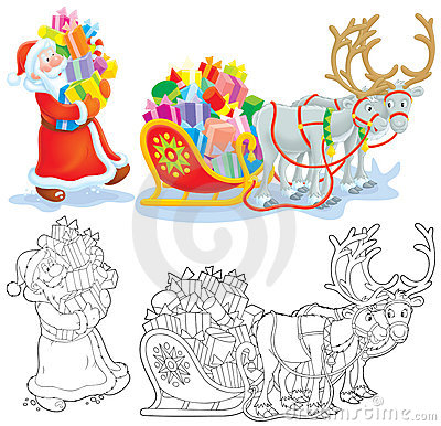 Santa loads gifts into a sleigh