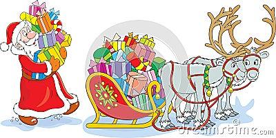 Santa loads his sleigh