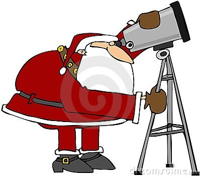 Santa Looking Through A Telescope