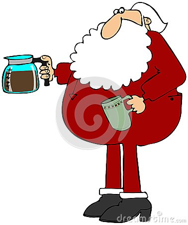Santa making coffee