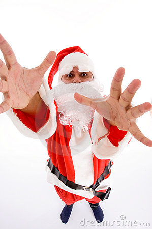 Santa man with open palms