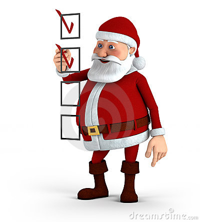 Santa marking a checklist