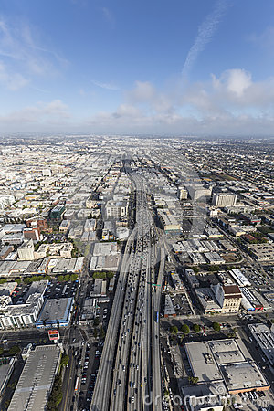 Free Santa Monica 10 Freeway Aerial Los Angeles California Royalty Free Stock Photography - 91032597
