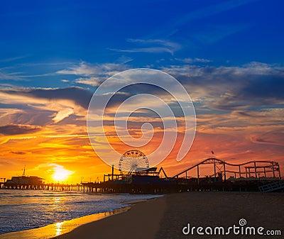 Santa Monica California sunset on Pier Ferrys wheel