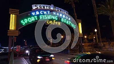 Santa Monica Pier, de tijdtijdspanne van Californië stock video