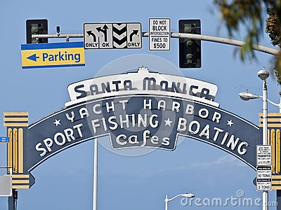 Santa Monica Pier Entrance Sign Editorial Photo