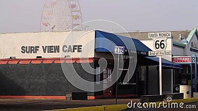 Santa Monica Pier, extrémité de Route 66, Los Angeles (villes) banque de vidéos