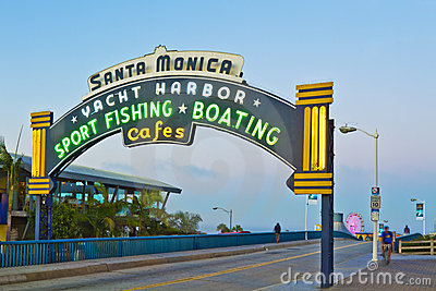 Santa Monica Pier in Santa Monica, California Editorial Stock Image