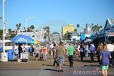 Santa Monica Pier Visitors Editorial Photo