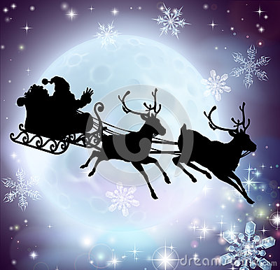 Santa flying in his sleigh with reindeer in front of a full moon in ...