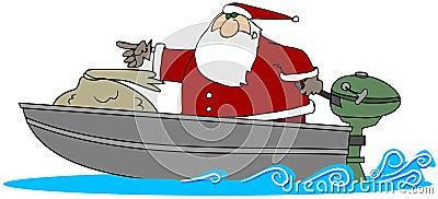 Santa In A Motor Boat