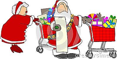 Santa & Mrs Claus shopping