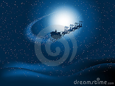 Santa in the night sky Vector Illustration