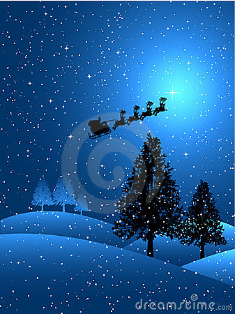 Free Santa On A Snowy Night Stock Images - 6308304