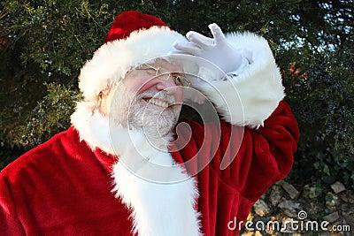 Santa Peering Into the Distance