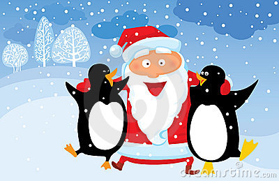 Santa with penguin
