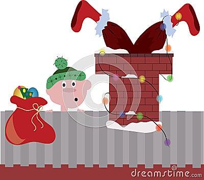 Santa in the pipe