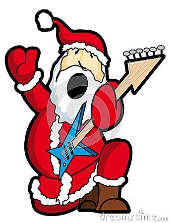 Santa play guitar